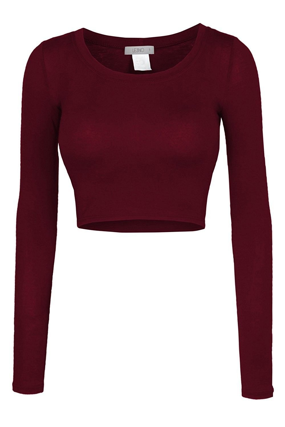 aad48273e9d16 Womens Fitted Long Sleeve Crop Top with Stretch - L3nwt1073 burgundy ...