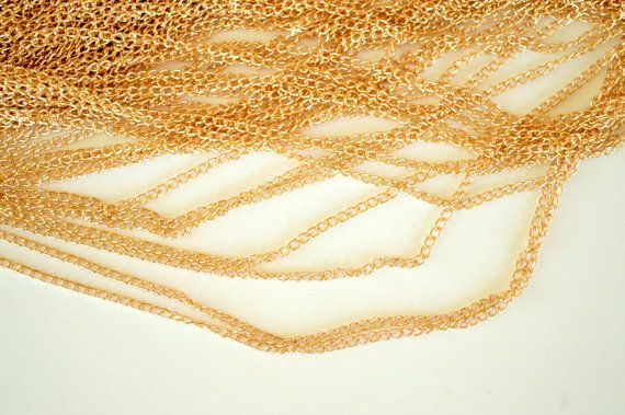 Gold Chain Golden Iron Twist Chain 3x2mm 5 yards by TheBeadBandit, $3.99