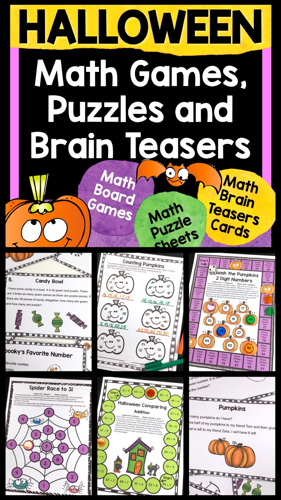 Halloween Activities Halloween Math Games Puzzles And
