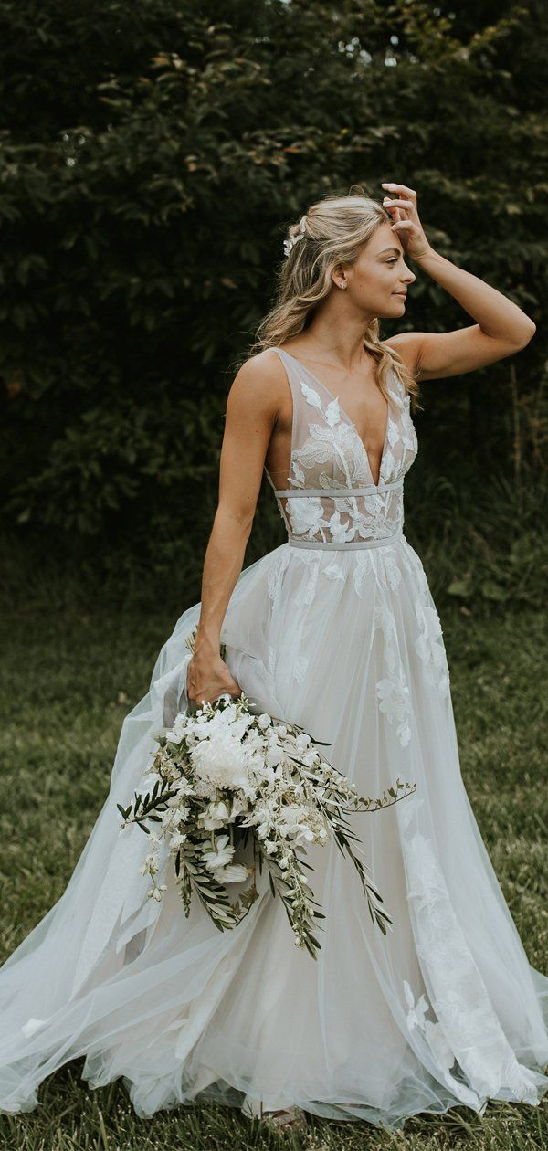 See Through Lace Ivory Tulle V Neck V Back Beach Wedding Dresses