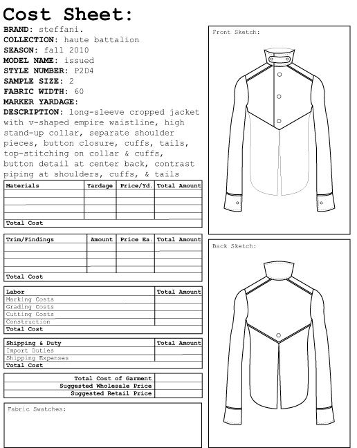 Garment Costing Sheet  Google Search  Spec And Costing Sheets