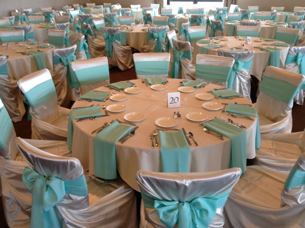 Great Ivory Satin Wrap Chair Covers With Aqua Poly Solid Sashes And Napkins By Sitting  Pretty Linens