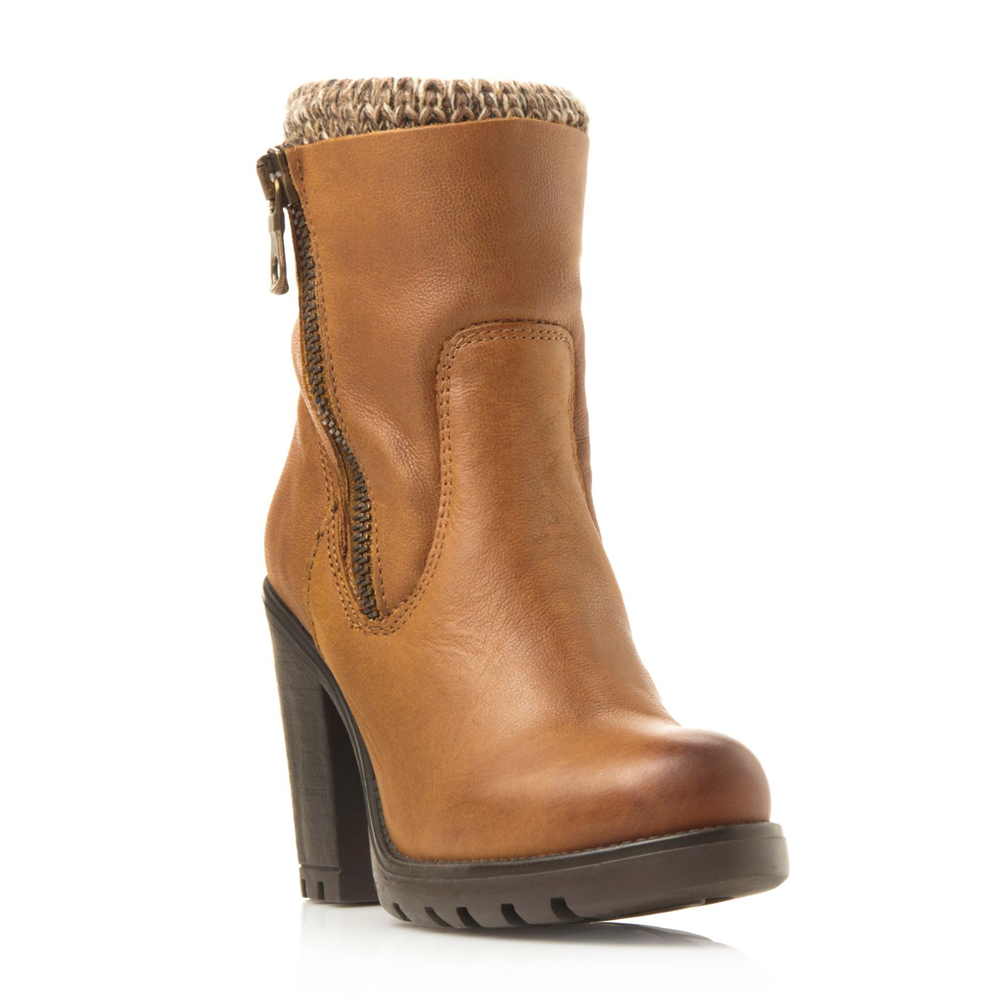 Steve Madden Sweater zip detail low boots, Tan | Ladies Boots ...