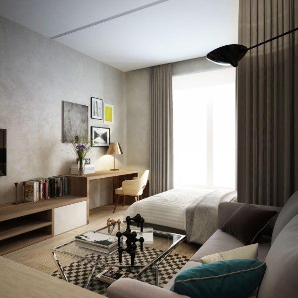 Muy bonito y minimalista, parece habitación de hotel. Zona cama con escritorio separado por cortinon de la zona salita. Zona Studio Design Ultimate Inspiration