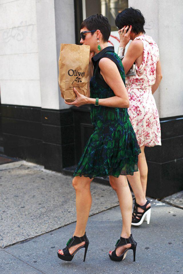 short hair, dresses & heels