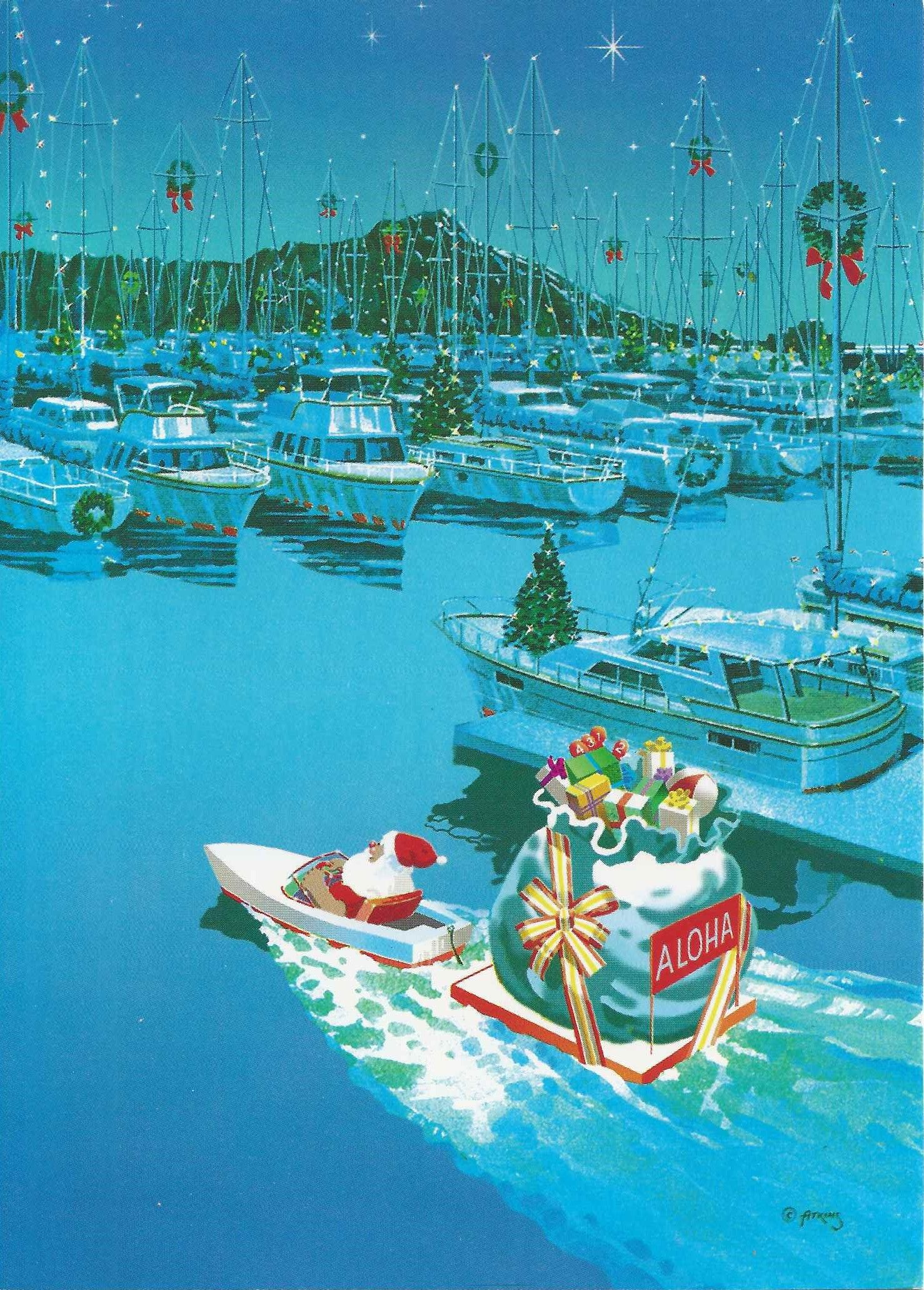Vintage Hawaiian Christmas Card. [no date]. Bernard Atkins ...