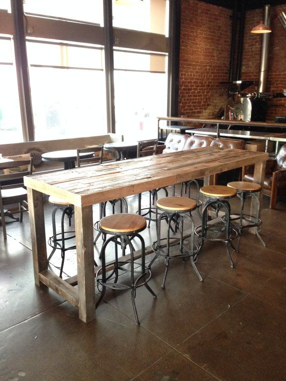 Reclaimed Wood Bar Table Restaurant Counter Community