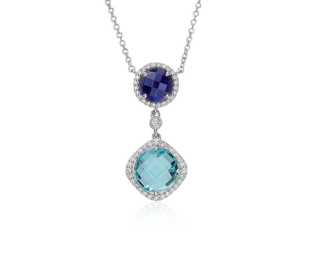 Robert Leser Multigemstone Confetti Halo Drop Necklace in 14k White Gold