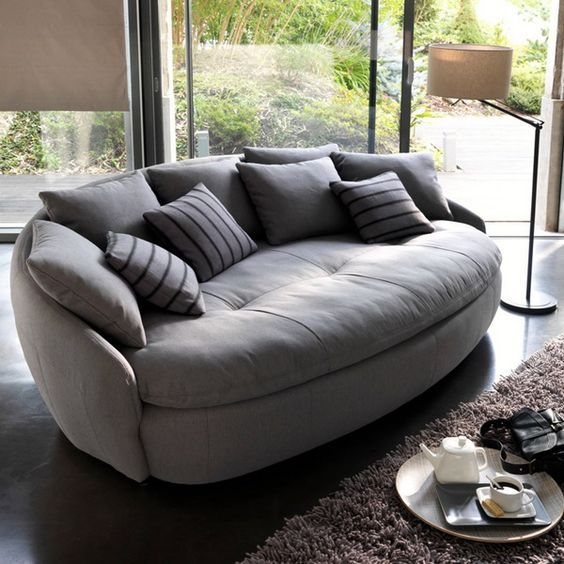 soft couches. Contemporary Sofa With Round Shapes And Soft Upholstery Fabric Couches Pinterest