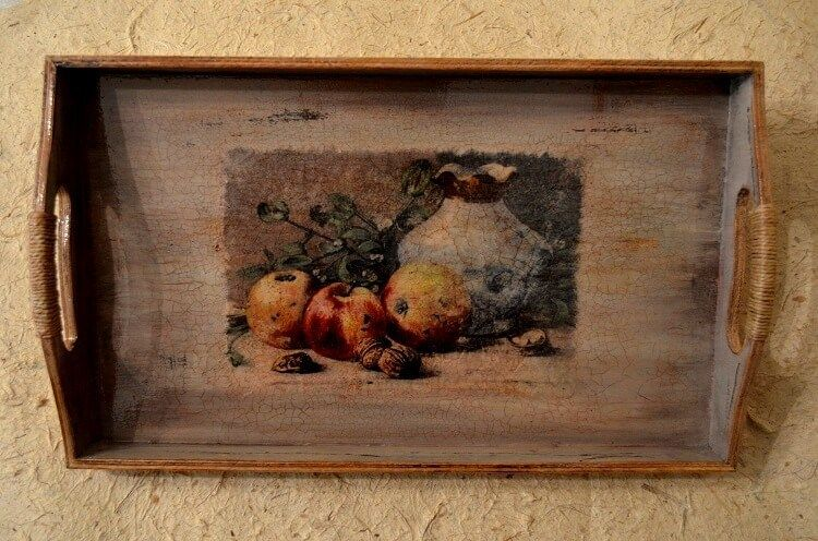 decoupage on wooden tray with shabby distressed effect final result