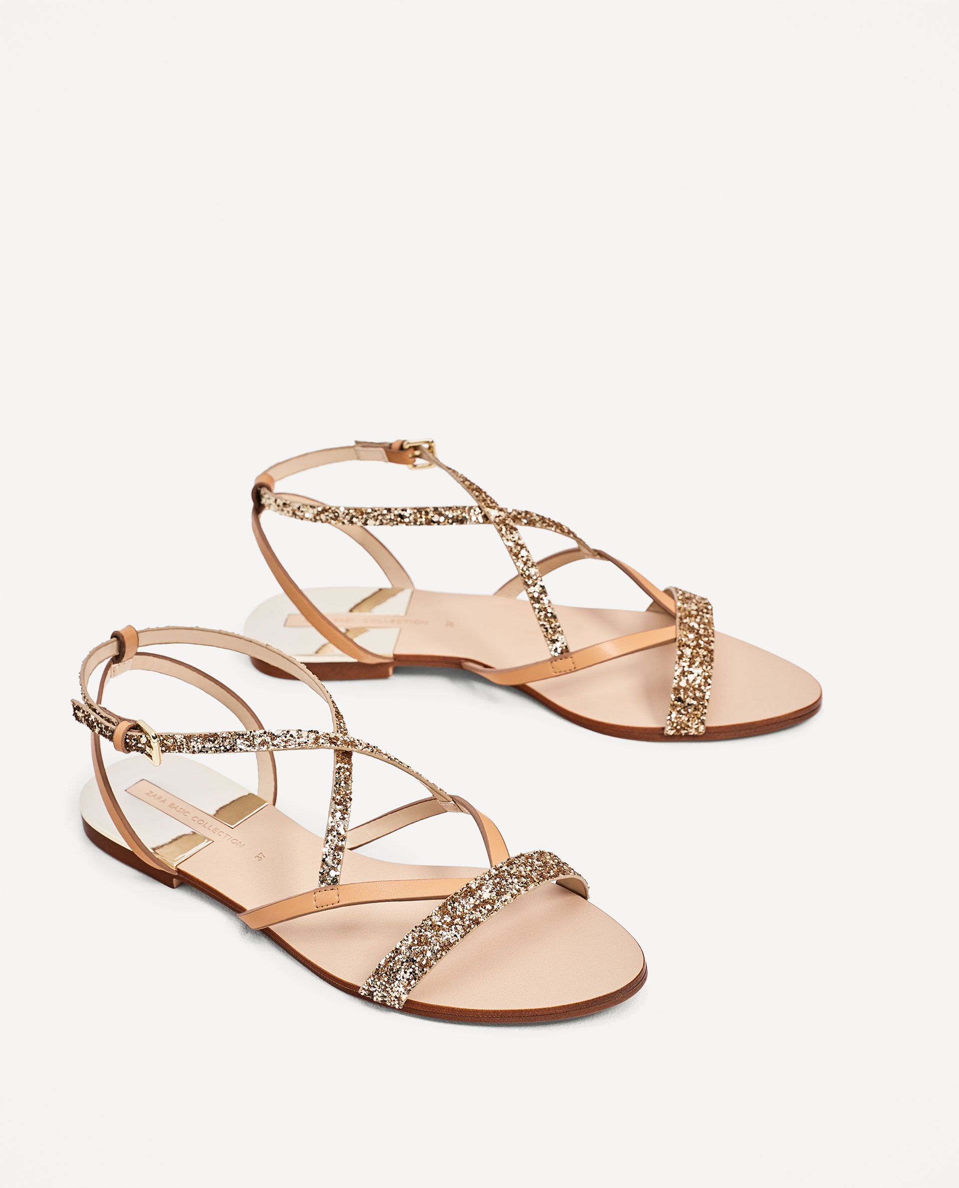 Straps Sandals Flat With Woman Zara Shiny Fcl1JTK3