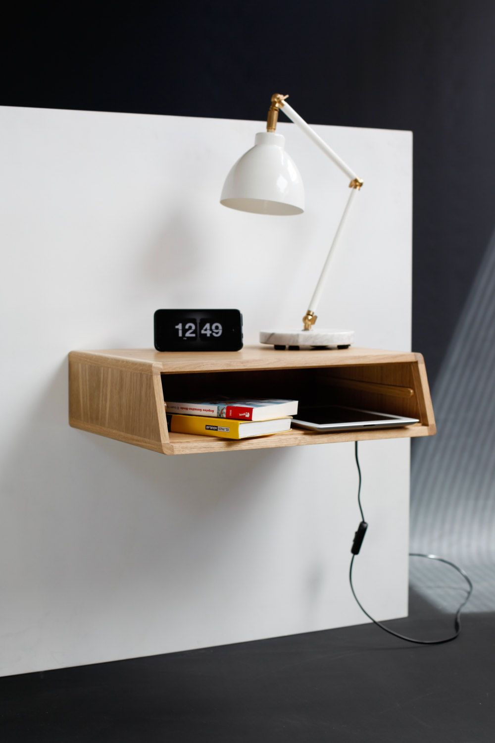 Best Floating Wood Nightstand Bedside Table Drawer 400 x 300