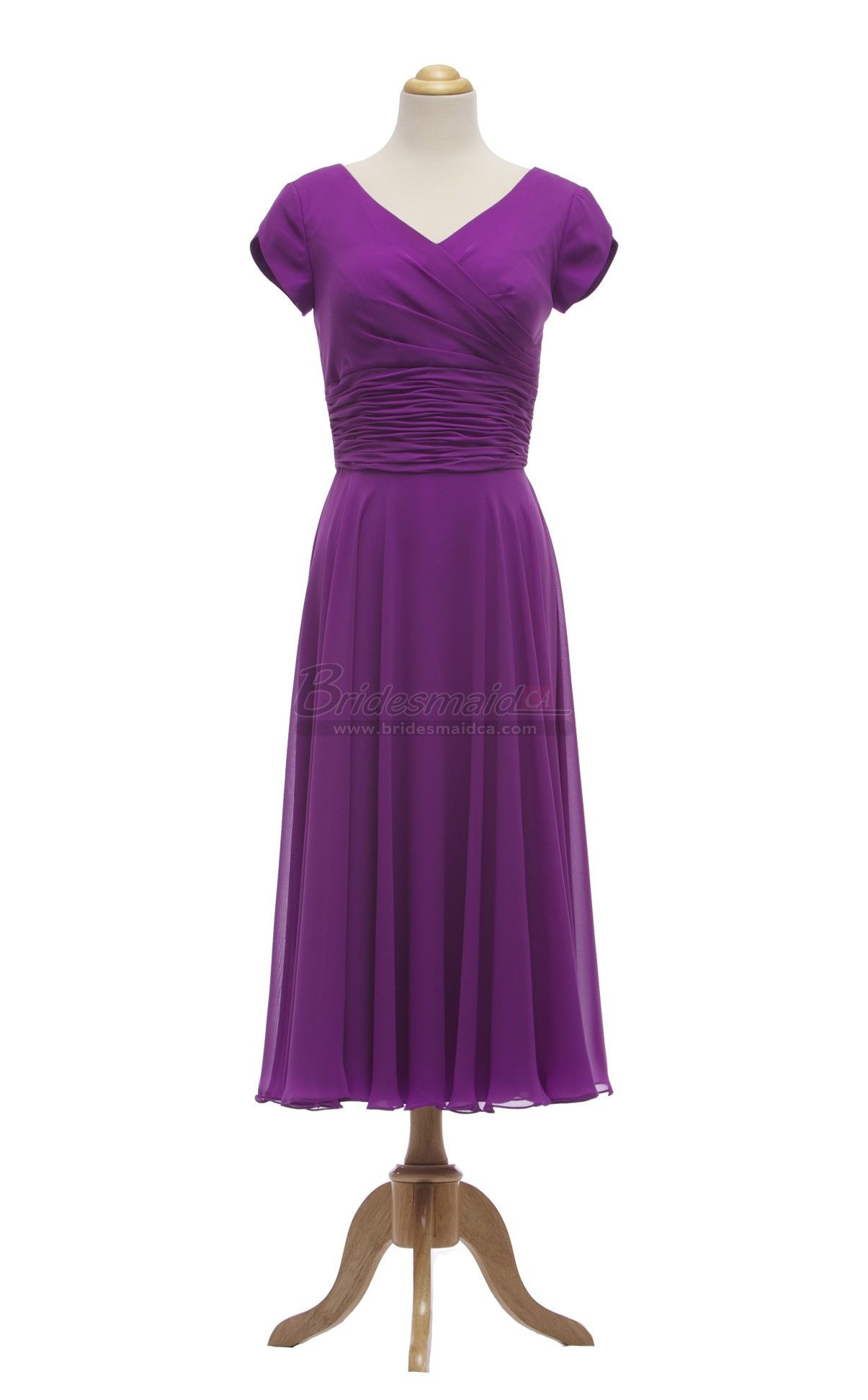 bridesmaid Tea Length Chiffon V Neck Grape Bridesmaid Dress with ...