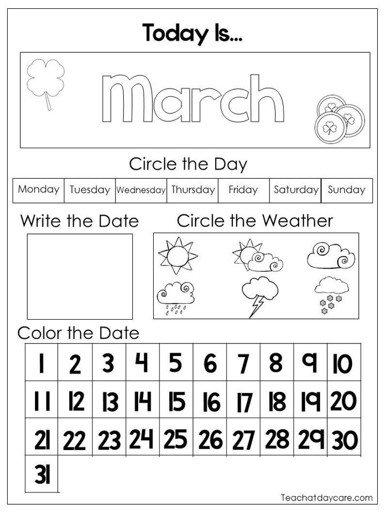 12 Printable Preschool Calendar Worksheet Pages Month Day Etsy In 2020 Calendar Worksheets Preschool Calendar First Grade Calendar