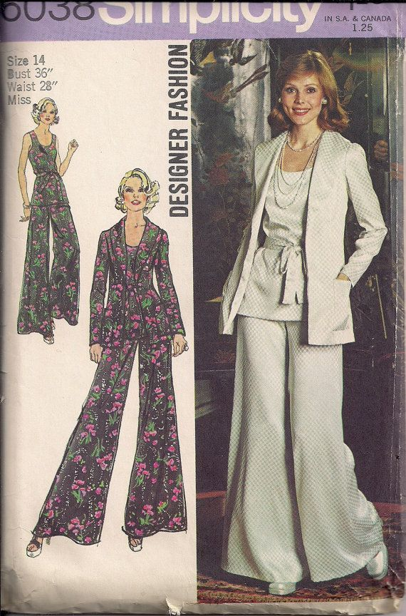 Vintage 70s Sewing Pattern PALAZZO PANT SUIT Tank Top, Belt, Jacket ...