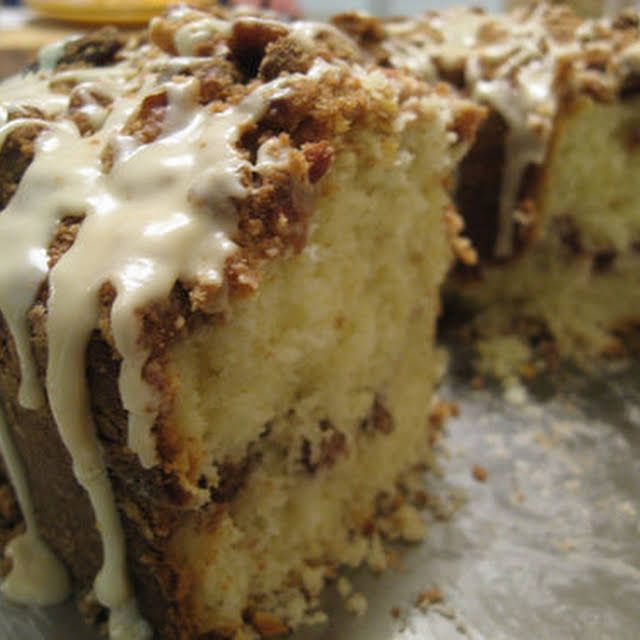 Delightfully Moist Coffee Cake With Sour Cream Recipe Yummly Homemade Coffee Cake Homemade Coffee Cake Recipe Coffee Cake Recipes