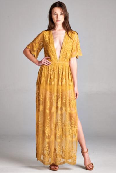 0885ee6b6388 Preorder - Bardot Lace Maxi Romper - Mustard