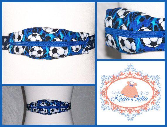 Footballs on blue insulin pump belt with blue/white by KaijaSofia