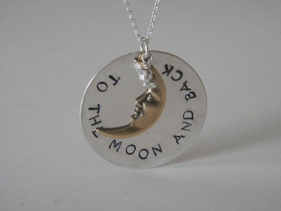 To the Moon and Back necklace by HarmonyInArt on Etsy, $22.00