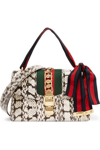 ee08775050 GUCCI Sylvie Medium Canvas And Chain-Trimmed Elaphe Shoulder Bag.  gucci   bags  shoulder bags  canvas