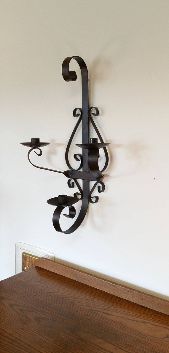 Wrought Iron Metal Wall Sconce Candle 3 Three Holder Gothic