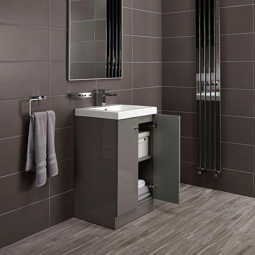 Alpine Duo 500 basin and floorstanding vanity unit - gloss grey image 4