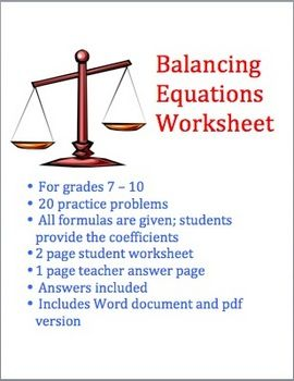 Balancing Chemical Equations  Equation Worksheets And Students
