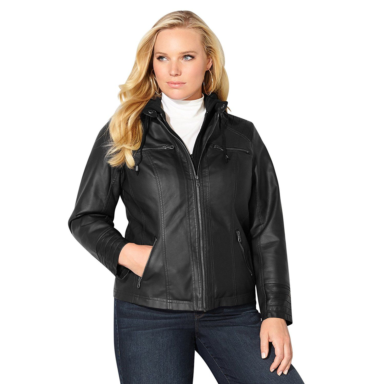 Avenue Women's Hooded Faux Leather Motorcycle Jacket