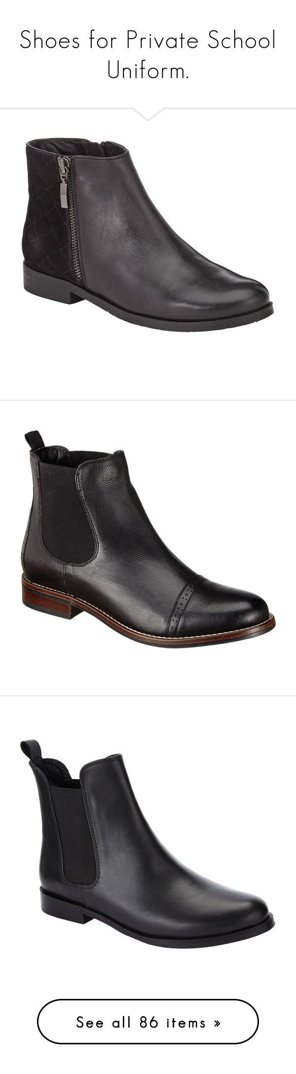 """Shoes for Private School Uniform."" by twoidjitsinthesalvageyard ❤ liked on Polyvore featuring shoes, boots, ankle booties, faux leather booties, black leather booties, flat booties, flat ankle boots, short black boots, black and black chelsea boots"