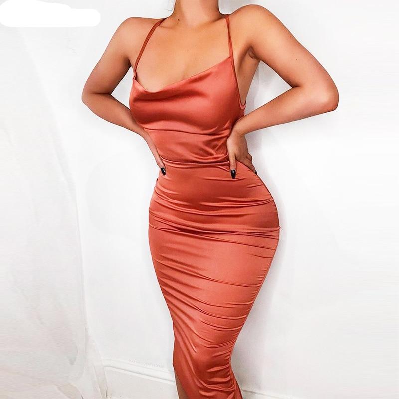 Drape Neck Slinky Party Dress In 2019 Women Fashion