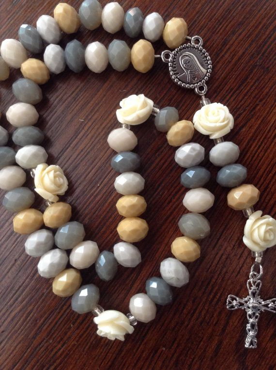 Elegant Rosary with neutral tones and cream by elegantroseshop