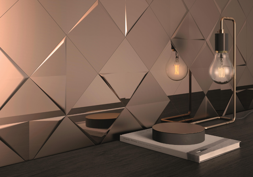 Aleatory Gold Gloss 3 Ceramic Tiles From Alea Experience Architonic In 2020 Wall Cladding Gold Mirror Wall Copper Wall Tiles