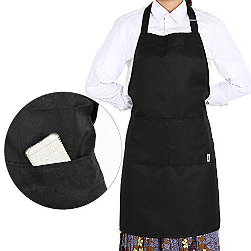 Dokpav Tablier r/églable pour Femme Homme avec Poches de qualit/é /étanche Cuisson Tabliers de Cuisine pour la Maison de Cuisine Cuisson BBQ Restaurant Caf/é Maison Noir//Blanc