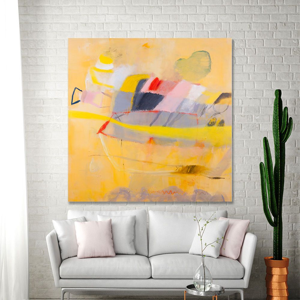 ABSTRACT PAINTING Print Yellow Canvas print Large Painting up to ...