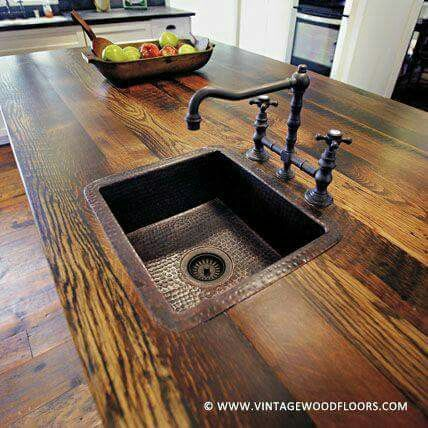 Reclaimed wood kitchen counters with hammered metal sink   Home ...