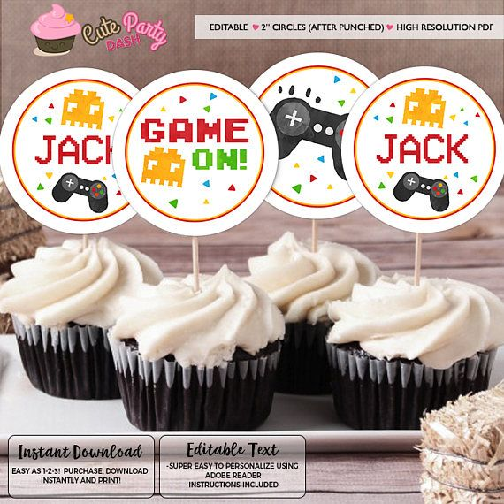 Instant Download Editable Video Game Cupcake Toppers Video Game