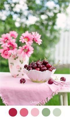 SWEET CHERRY - Mooie zoete tinten roze en groen voor een meisjes slaapkamer. Roze - Rood - groen - Zoet - Kers - Kersen