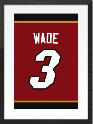 watch a84df 3006a Dwyane Wade Number 3 Miami Heat Jersey Art Print | Mancave ...