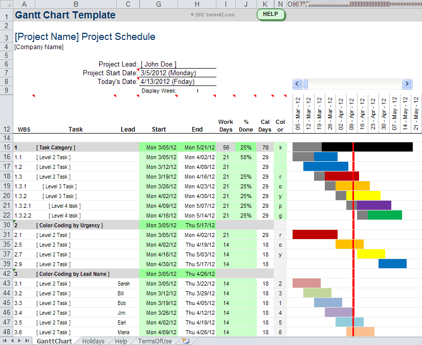 Video Gannt Chart Template For Excel And XLSX Resume - Free project management templates excel 2007