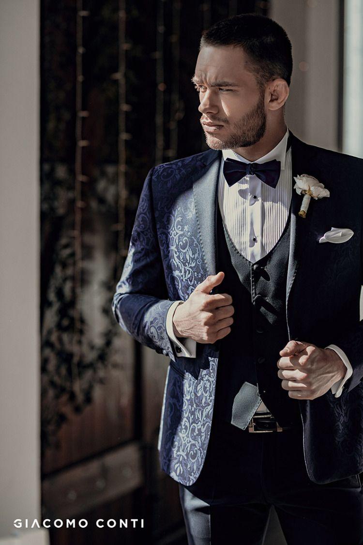 Granatowy Garnitur Slubny We Wzor Paisley Suit Jacket Suits Jackets