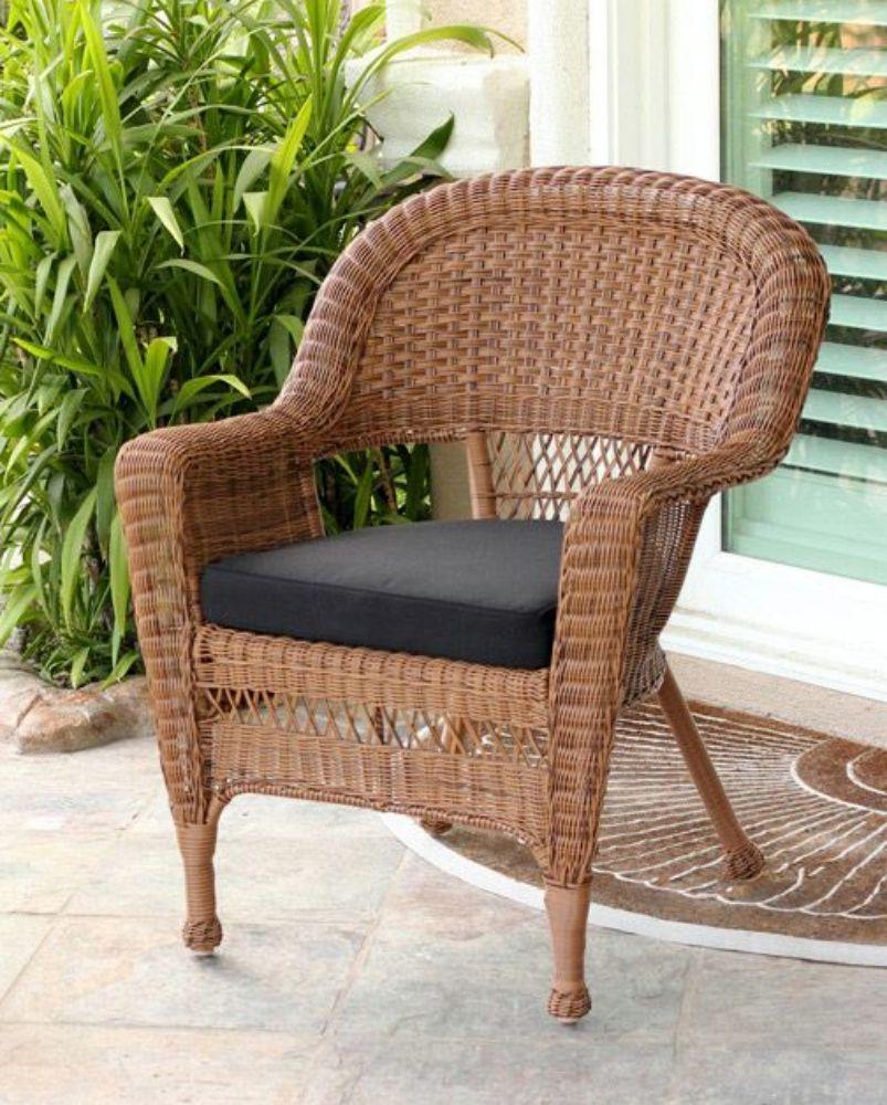 36 Honey Brown Resin Wicker Outdoor Patio Garden Chair Black Cushion Resin Patio Chairs Brown Cushions Garden Chairs
