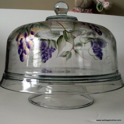 Hand Painted Purple Grapes Cake Cover Dishwasher Safe Reversible