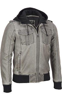 1d99dbdae Black Rivet Patch Pocket Faux-Leather Jacket w/ Sherpa ...
