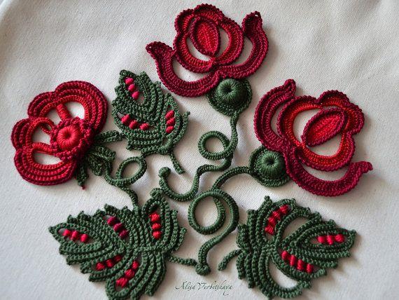 10 Pcs Set Of Flowers Crochet Rose Crochet Flower Appliques Irish