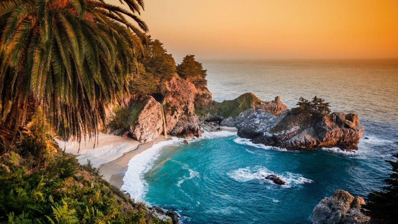 Pacific Ocean, big sur, california, beach, mcway falls, sunset ...