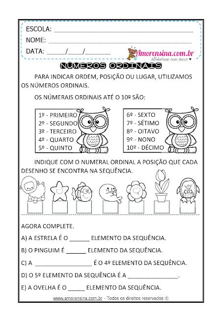 Mayara Figueredo Em 2020 Numeros Ordinais Atividades De