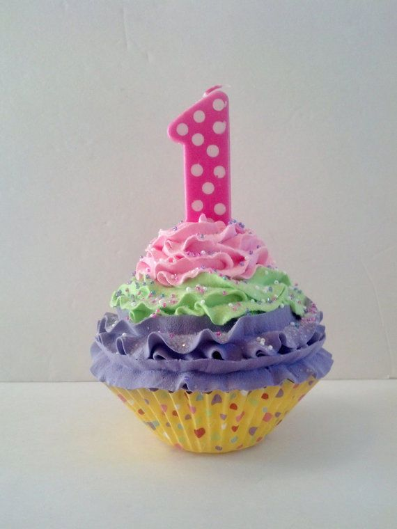First Birthday Fake Cupcake Candy Land Theme Number One Candle