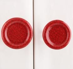 Red Crackle Ceramic Drawer Knob (Pack Of Two Piece)