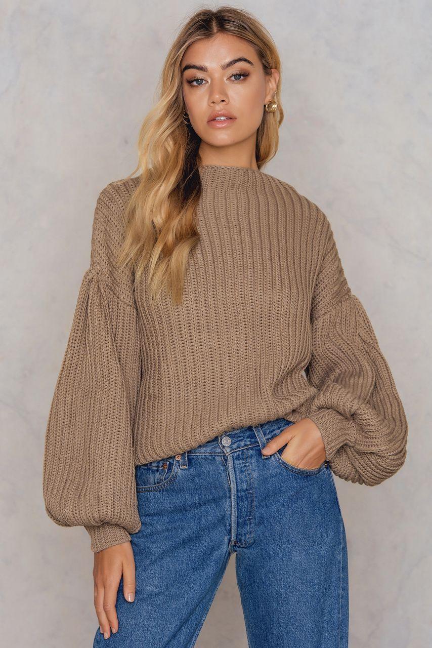 4c5004c9d5fffa Balloon Sleeve Knitted Sweater | teela NA-KD | Sweaters, Knit ...