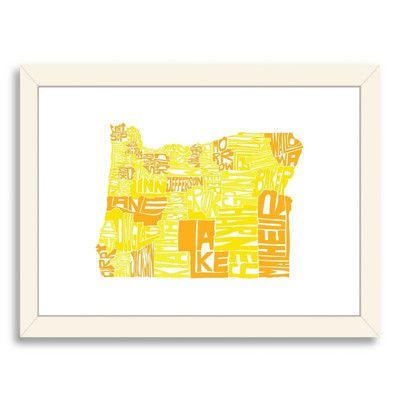 Americanflat CAPow Oregon Framed Textual Art Frame Color: